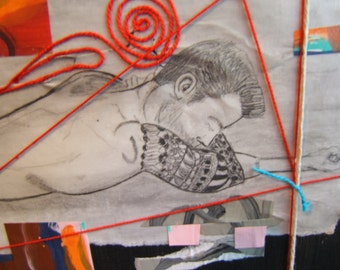male nude collage, He had a sleeve and it was hot.... original art....mixed media
