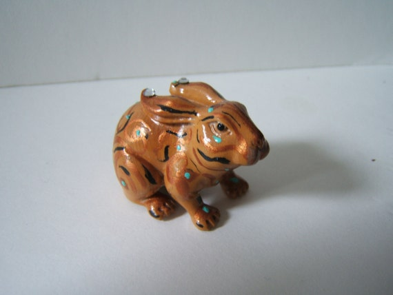 RABBIT netsuke wooden, hand carved, hand painted, hand embellished magic charm..free shipping usa TREASURY