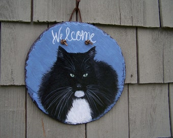 Pet painting_dog memorial_cat memorial_custom slate portrait_Hand Painted