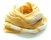 Tie Dye Golden Yellow Shibori Scarf - Hand Dyed Cotton - 17 x 72 - Goldenrod