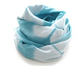 SALE - Shibori Turquoise Scarf - Hand Dyed Cotton - 17 x 72 - Sea Glass