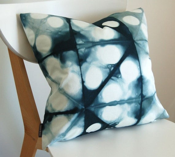 Tie Dye Shibori Pillow Cover 18x18 inches - Peacock
