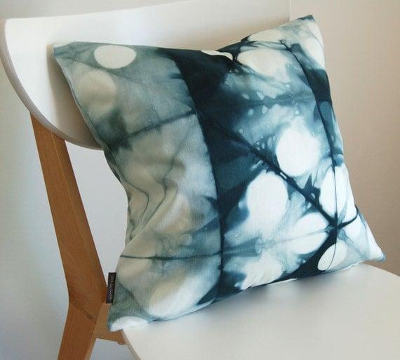 Tie Dye Shibori Pillow Cover 18x18 inches - Peacock
