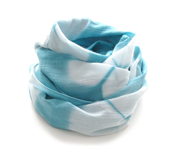 SALE - Shibori Turquoise Scarf - Hand Dyed Cotton - 17 x 72 - Sea Glass