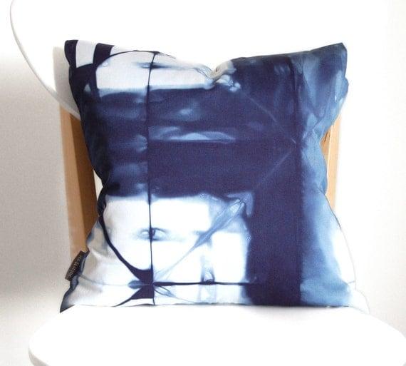 Navy Pillow - 100% Organic Cotton Tie Dye Shibori Pillow Cover - 16 x 16 inches - Marine