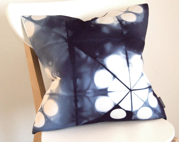 Tie Dye Navy Pillow Cover - Contemporary Shibori - Marine