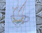Embroidered Dish Towel with Tea Cup Design