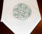 Celtic Flower Sack Kitchen Towel or Small Table Cloth, 27 x 27, Irish Knot Work