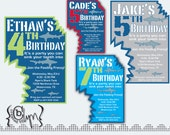 Shark Attack Birthday Party invitation with two shark bites cut-out CUSTOM COLORS