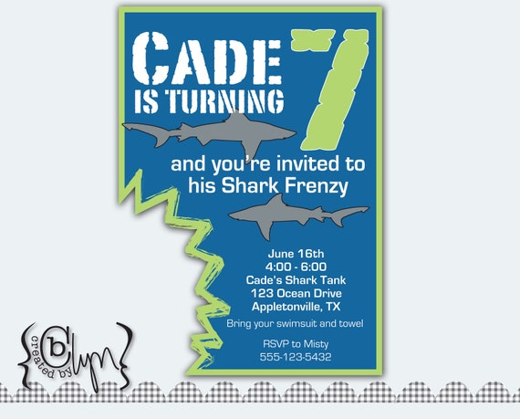 Shark Attack Birthday Party invitation with shark bite cut-out, BLUE and LIME GREEN
