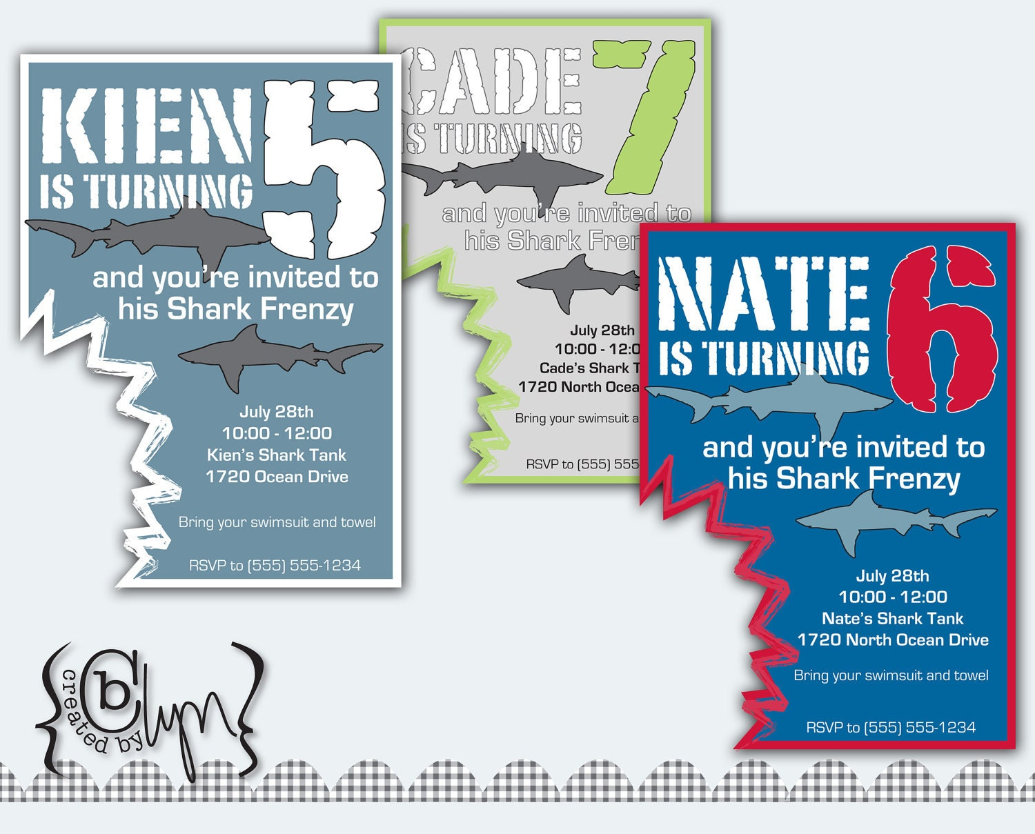 Shark Party Invitations