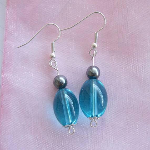 Turquoise Glass & Blue Czech Glass Pearl Beaded Earrings Silver Plated - Matching Ring Available Set OFFER