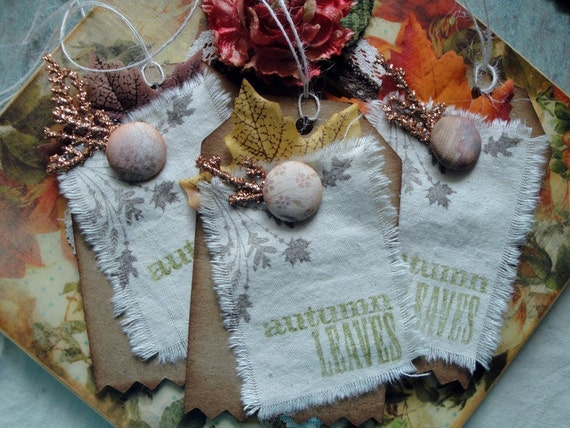 Autumn Leaves Gift Tags -  Cotton and Kraft Paper Tags - October
