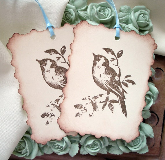 Wedding Wishing Tree Tags - Ivory and Brown - Alternative Guest Book - Bird Image