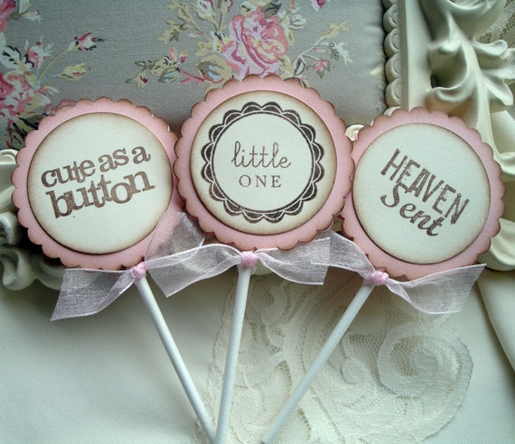 Items similar to baby shower cupcake toppers for baby girl for Baby shower cupcake picks decoration