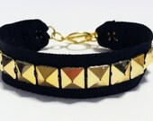 Studded Ribbon Bracelet- Black with Gold