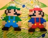 8-Bit Mario and Luigi Holiday Ornaments
