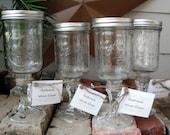 Set of 4 - Redneck Wine Glasses - Hillbilly glasses - Wide Mouth
