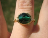 Wire Wrapped Ring, Solo in Emerald and Gold--green accent, eye catching jewel