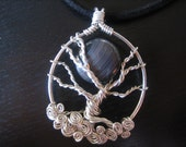 Sterling Silver Wire Wrapped Tree of Life necklace with moon, black, agate, turquoise, blue, earthy, winter, fall, nature