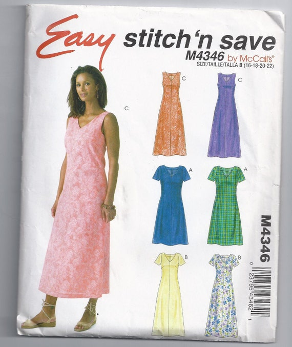 Stitch N Save Dress Size 16 18 20 Or 22 Unused McCall's Sewing Pattern