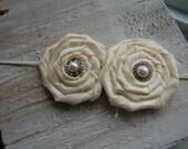Ivory Shabby Chic Double Rosette Headband Perfect Phot Prop/Birthday/Newborn/Baptism/Wedding