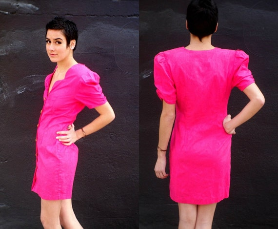 Vintage 1980s Hot Pink Poof Sleeve Mini Dress XS