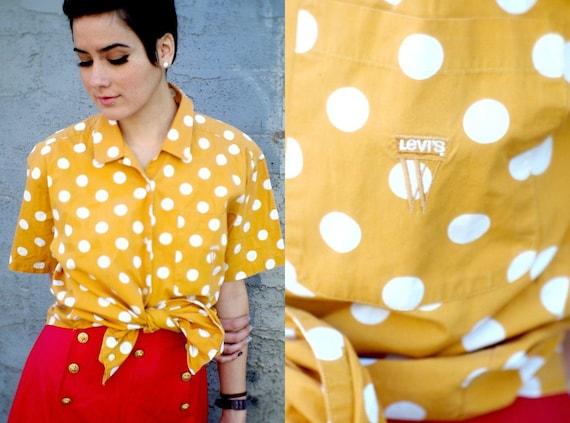 Vintage 70s Levi's Polka-Dot Bowling Shirt Blouse