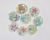Glass Magnets - Multicolored Pinwheels, Set of 8