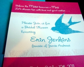 Bridal Shower Invite - Damask Pattern and Bird (swallow) Graphic