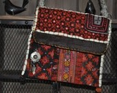 appliqued,ebroidery patchwork / vintage textile bag