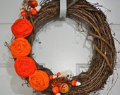 Halloween Shabby Blooms Grapevine Wreath-14""