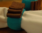 Teal Ribbon Wrapped Napkin Rings with Brown Accent - Set of 4