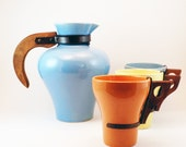 Vintage Joaquin Potteries Carafe and Cups - Wooden and Copper Handles - California Pottery