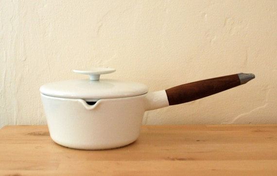 Copco Enamel Lidded Sauce Pan And Wooden Handle By