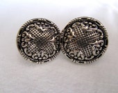 Fancy Silver Button earrings