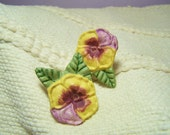 "Vintage Clips, Ceramic ""Pansy"" multi-use Clips..."