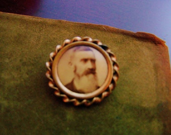 Mourning Brooch... Antique Victorian Brass Mourning Brooch, circa 1880