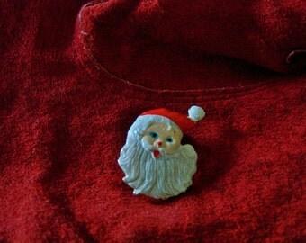 Santa Brooch, Very Vintage, Christmas Pin, Saint Nicholas brooch, Holiday Cheer Pin, Santa Clause.....