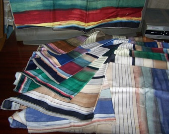 Striped Cotton Fabric, 6 Squares of the same pattern, differing colors, 25 x 25