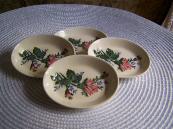 """Set of 4 Salt Dishes, Vintage 3x2"""" White with a Hand-Painted Pink Rose"""
