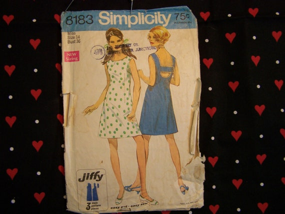 1960s Dress Pattern 8183 from Simplicity, 1969
