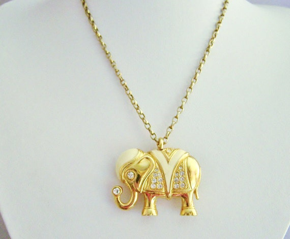 "Vintage gold necklace, Circus Elephant Pin-Pendant of ""Ivory and Diamonds"", elephant brooch, elephant pendant, piece..."
