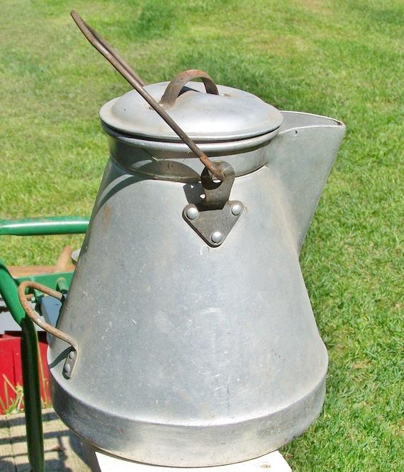 Vintage cast aluminum water pot, Campfire coffee pot, Woodstove tea pot, Silver pot, Wearever water pot...