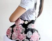 Hobo Tote Bag Black, White and Red Floral shoulder bag