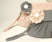 Pastel color Matching Set of 2: Pleated Wristlet Purse in Blue Gray and Dusty PInk