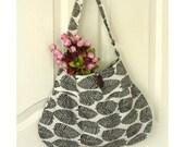 Black and White Hobo Bag, Woodland Leaf, Medium Size Daily Shoulder Bag - Ready to Ship