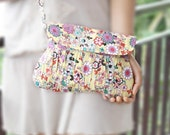 Floral Print Wristlet Purse in Yellow and Colorful Spring / Summer