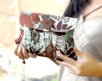 Pleated Brown Clutch Purse screenprinted cotton leaves