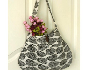 Black and White Hobo Bag, Woodland Leaf, Medium Size Daily Shoulder Bag - Ready to Ship